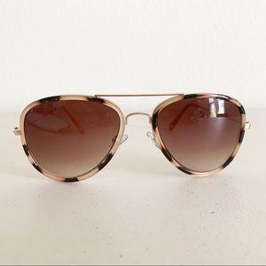 Blush Tortoise Aviator Sunglasses Amber Gradient